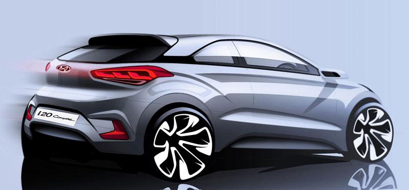 Hình ảnh phác họa đầu tiên của Hyundai i20 Coupe mới.