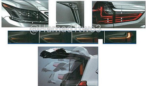 Hệ thống đèn mới và cửa khoang hành lý chỉnh điện của Lexus LX570 2016