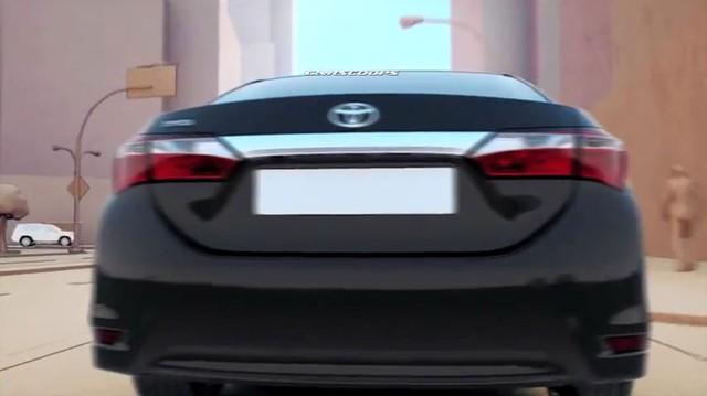 Đuôi xe Corolla trong đoạn phim quảng cáo của Toyota.