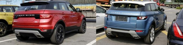 Landwind X7 (trái màn hình) và Range Rover Evoque chính hãng.