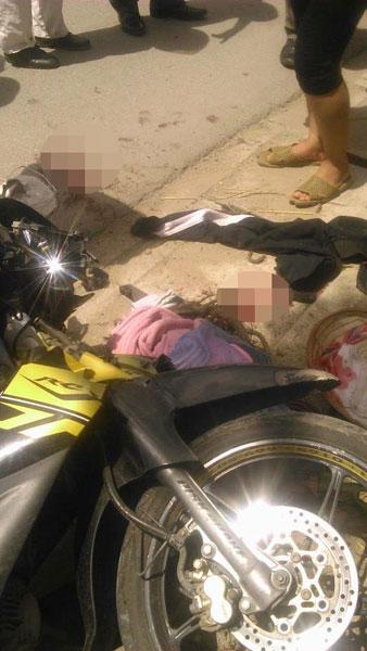 Chiếc Yamaha Jupiter Gravita tại hiện trường vụ tai nạn. Ảnh: Tránh chốt CSGT Hải Phòng