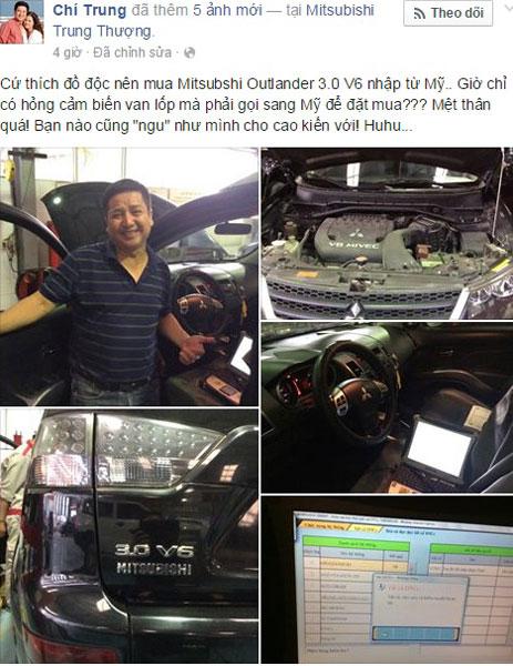 Chí Trung đăng hình đưa xe đi sửa trên Facebook cá nhân.