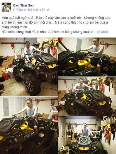 Cao Thái Sơn lại khoe được tặng xe trên Facebook. Ảnh FBNV