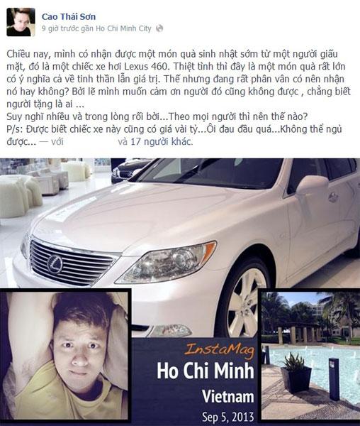 Cao Thái Sơn khoe được đại gia giấu mặt tặng Lexus LS460 trên Facebook. Ảnh: FBNV