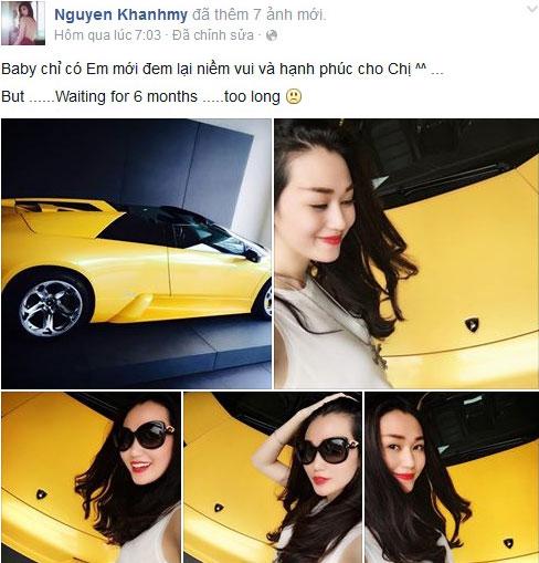 Khánh My tự khoe đặt mua siêu xe Lamborghini Murcielago Roadster. Ảnh: FBNV