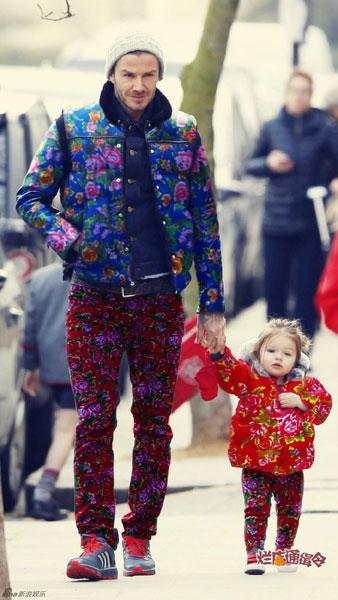 Cư dân mạng Trung Quốc chế ảnh bố con nhà Becks rực rỡ áo hoa.