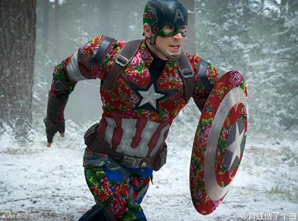 Captain America cũng theo trào lưu chăn con công.