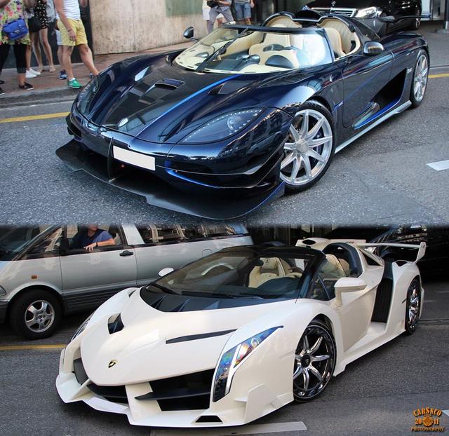 Cặp đôi siêu xe Koenigsegg One:1 và Lamborghini Veneno Roadster bị tịch thu của con trai Tổng thống Guinea Xích đạo.