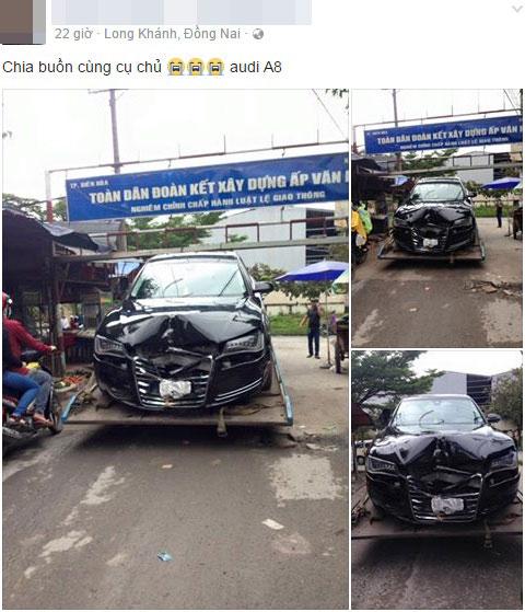 Hình ảnh chiếc Audi A8 bị tai nạn được đăng lên mạng. Ảnh chụp màn hình
