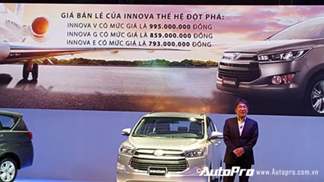 Mức giá giật mình mà Toyota Việt Nam đưa ra cho Innova 2016.