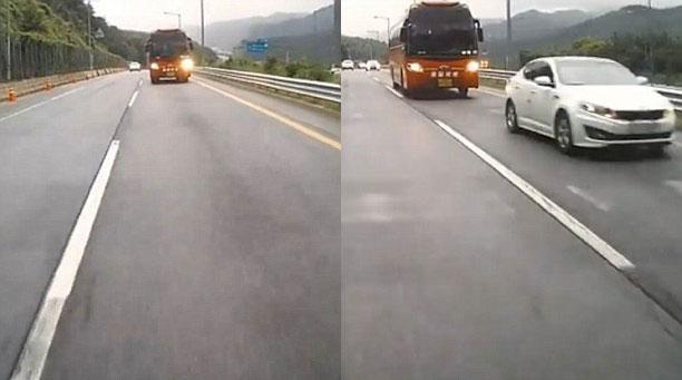 Chiếc xe buýt lao nhanh đến đoàn ô tô con đang đứng yên. Ảnh cắt từ video