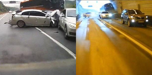 Chiếc xe buýt chỉ dừng lại khi đâm vào tường đường hầm. Ảnh cắt từ video