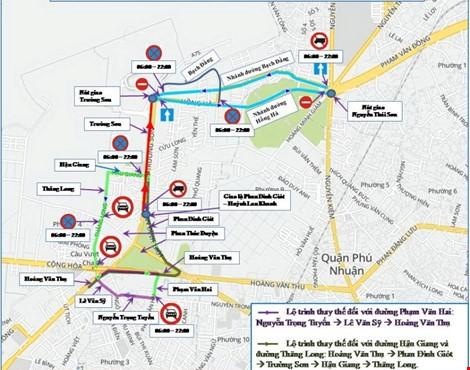 Tổ chức giao thông một số tuyến đường khu vực sân bay Tân Sơn Nhất.