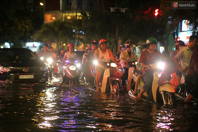 Tại đường Phan Xích Long, quận Phú Nhuận, dòng xe nhích từng chút trong biển nước. Đây là lần ngập nặng hiếm hoi tại con đường này. Ảnh: Quỳnh Trân