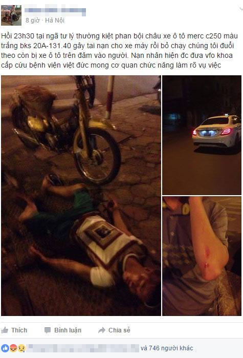 Thông tin và hình ảnh của vụ tai nạn được chia sẻ trên mạng.