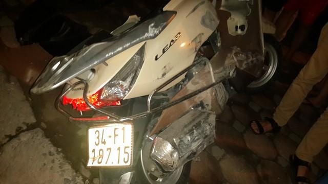 Chiếc Honda Lead tại hiện trường vụ tai nạn.