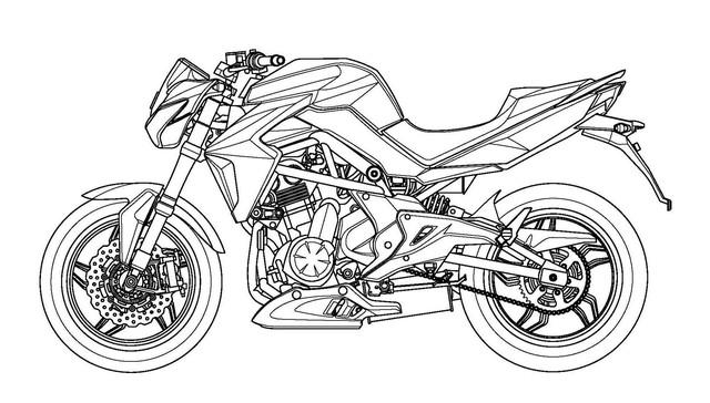 Hình ảnh của mẫu naked bike Kymco rò rỉ từ tài liệu đăng ký bản quyền.