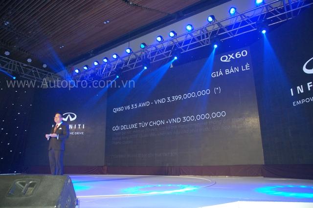 Theo đó, phiên bản tiêu chuẩn của QX60 2016 sẽ có mức giá 3,4 tỷ Đồng, thêm 300 triệu Đồng các khách hàng sẽ sở hữu gói Deluxe với những tùy chọn cao cấp.