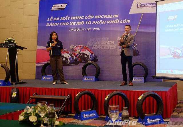 Ông Phạm Quang Đạt - giám đốc Ngành hàng lốp 2 bánh Michelin - phát biểu tại lễ ra mắt dòng lốp mới dành cho xe phân khối lớn.