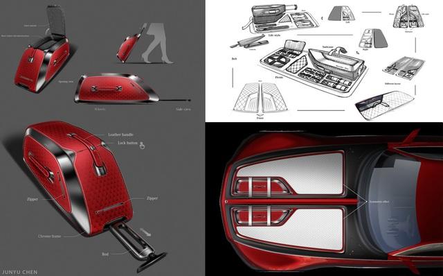 Phần cốp trước được bố trí hai va li hạng sang có thể giúp người dùng xách đồ một cách tiện lợi. Những chi tiết nhỏ nhưng tinh tế này sẽ là điểm cộng để Mercedes-Maybach 6 cạnh tranh cùng Rolls-Royce Wraith ở độ sang trọng.