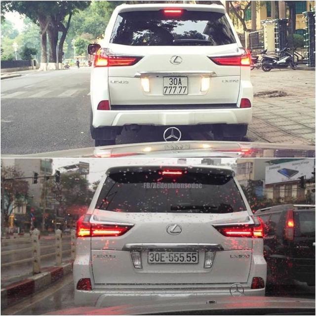 Nói về cách chơi biển khủng của những chiếc LX570 2016 tại thị trường Việt Nam phải kể đến các tay chơi Hà thành. Trong ảnh dễ dàng nhận ra hai chiếc SUV hạng sang của Lexus ngoài giống nhau về bộ áo trắng muốt, còn phải kể đến dãy 5 số đều mang biển ngũ quý.