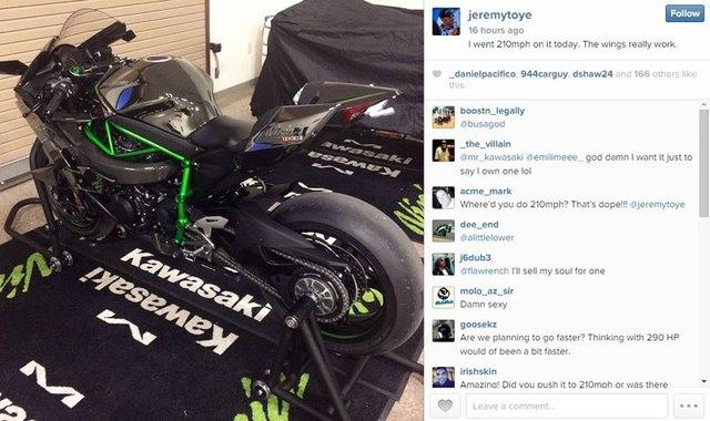 Jemery Toye khẳng định đạt vận tốc 337 km/h khi lái Kawasaki Ninja H2R trên Instagram.