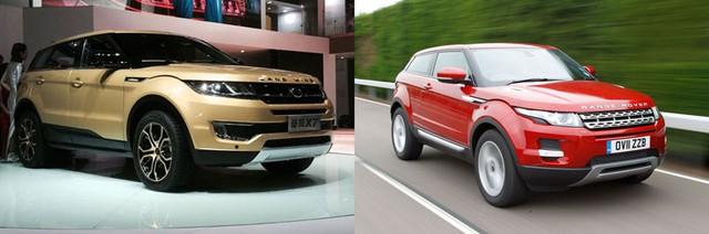 Landwind X7 (trái) và Range Rover Evoque chính hãng.