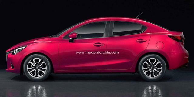 Hình ảnh phác họa của Mazda2 Sedan mới.