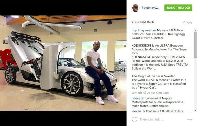 Mayweather hết lời ca ngợi siêu xe mới mua trên mạng xã hội.