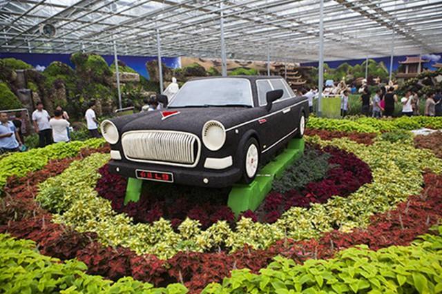 Mô hình Hồng Kỳ L9 làm bằng hạt đậu trong hội chợ nông nghiệp tại Trung Quốc.