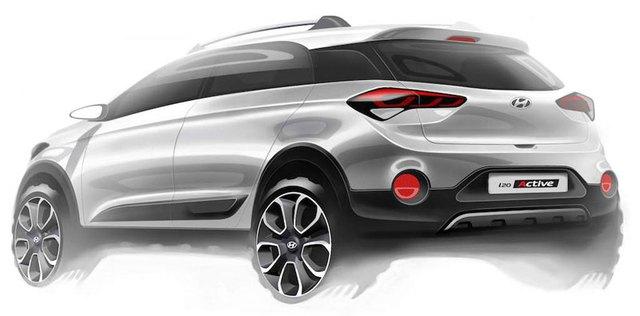 Hình ảnh phác họa chính thức của Hyundai i20 Active mới.