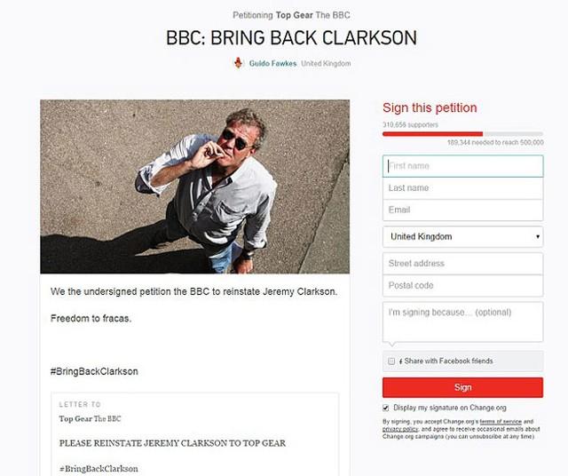 Trang web kêu gọi mọi người cùng ký tên để đưa Clarkson trở lại chương trình Top Gear.