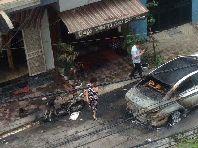 Hiện trường vụ cháy sau khi lửa đã được dập tắt (