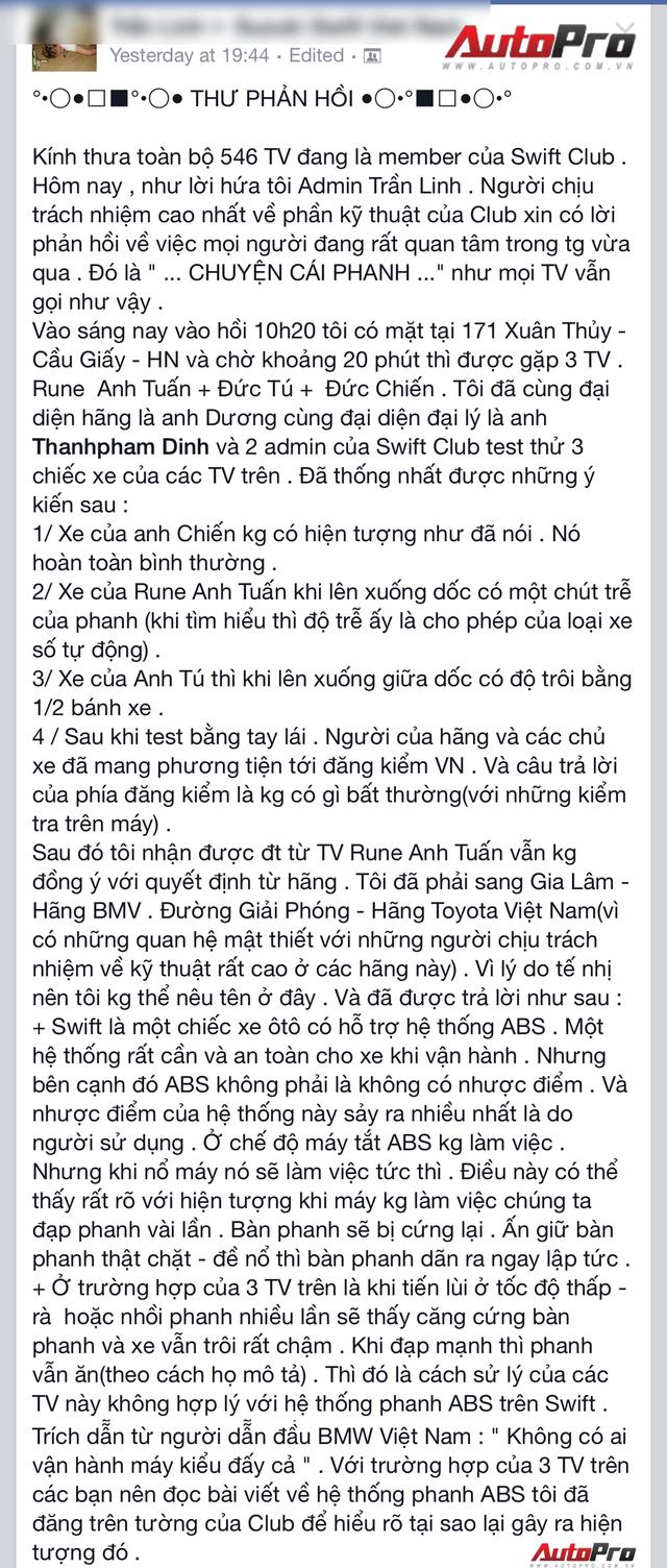 Theo lời của anh Trần Linh - admin câu lạc bộ Swift Việt Nam - thì hiện tượng phanh bị cứng khi sử dụng là do người dùng sử dụng sai phương pháp.