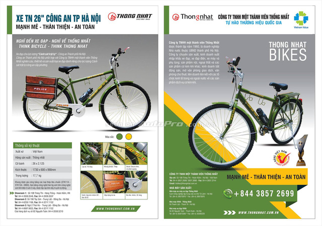 Những hình ảnh thể hiện thông số kỹ thuật khá chi tiết của xe đạp dành cho lực lượng cảnh sát trật tự.