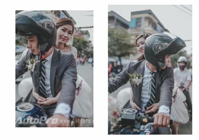 Chú rể đưa cô dâu về dinh bằng xe phân khối lớn. Tại Việt Nam, Suzuki Bandit 1200S là mẫu mô tô phân khối lớn ít người biết đến.