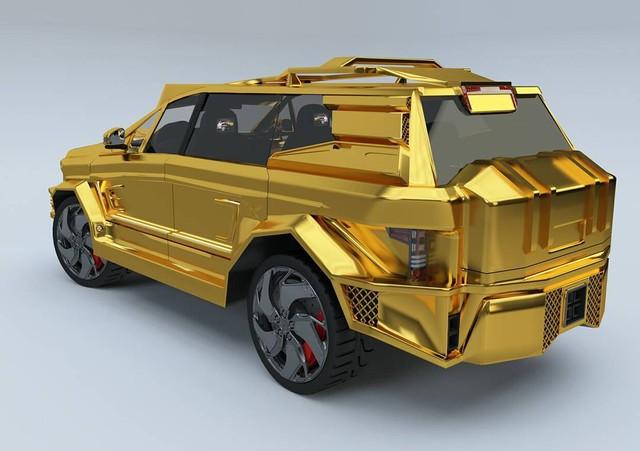 Hình ảnh chiếc SUV bọc thép mạ vàng mà Dartz Motors nghĩ là hợp với tân Tổng thống Mỹ.