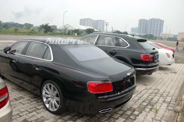 Bentley Continental Flying Spur là mẫu sedan sang trọng khá được ưa chuộng tại thị trường Việt Nam. Ở thế hệ mới, mẫu xe này được đổi tên thành Bentley Flying Spur đồng thời chia thành 2 phiên bản sử động cơ V8 và W12. Nếu như phiên bản W12 sử dụng ống xả hình oval thì Flying Spur V8 đi kèm ống xả kép. Ngoài ra, logo Bentley của bản V8 có nền sơn màu đỏ thay cho màu đen của bản W12 cũng là dấu hiệu nhận biết đơn giản.