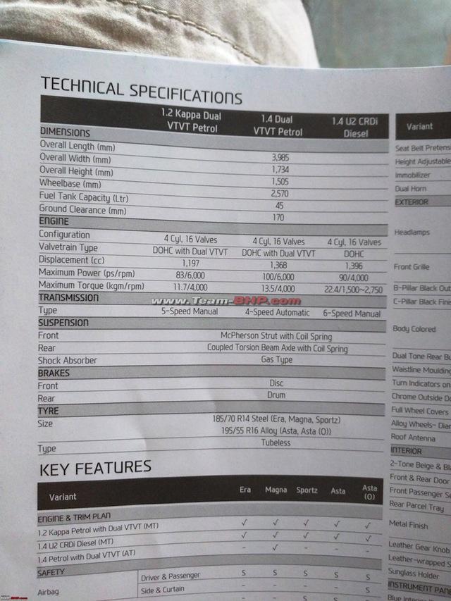 Bảng thông số kỹ thuật của Hyundai i20 AT tại Ấn Độ.