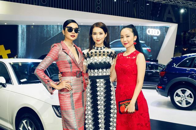 Bộ ba đại sứ thương hiệu Audi gồm siêu mẫu Thanh Hằng, hoa hậu Đặng Thu Thảo và diễn viên múa Linh Nga.