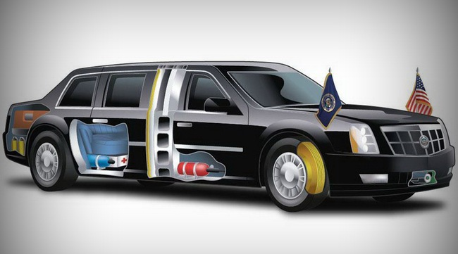 """Lộ chi tiết """"siêu limousine"""" của Tổng thống Obama 1"""