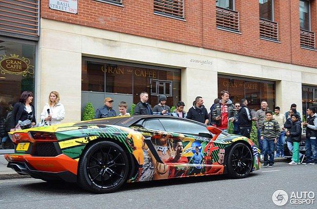 Lamborghini Aventador phiên bản World Cup bất ngờ xuất hiện tại London 1