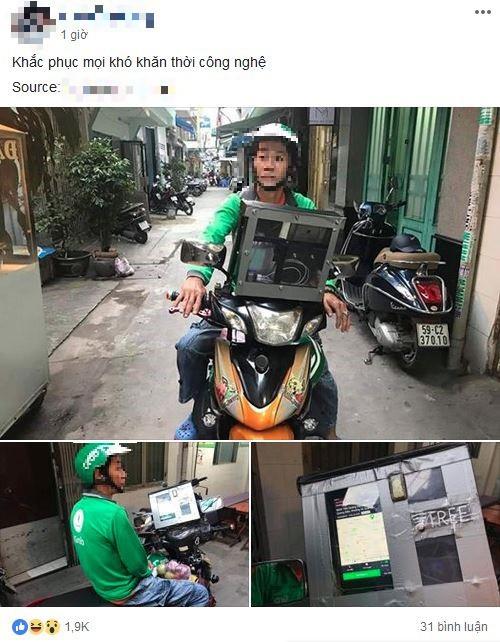 Góc sáng tạo: Bác tài xế Grab gắn bộ phát sóng wifi lên đầu xe để khách thoải mái dùng internet miễn phí - Ảnh 1.