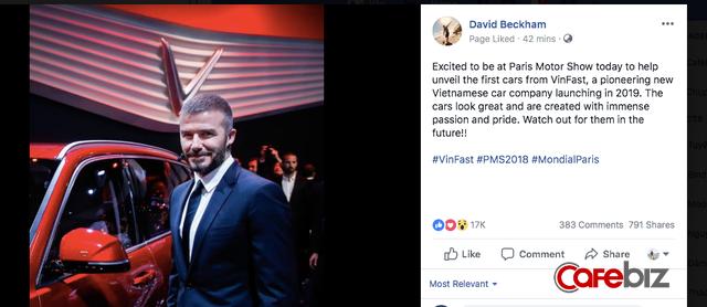 David Beckham vừa đích thân đăng dòng cảm nhận đầu tiên về xe VinFast trên trang fanpage hơn 50 triệu lượt thích - Ảnh 1.