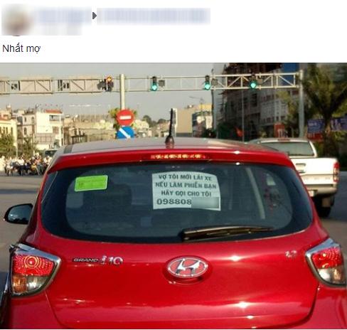 Dòng chữ vợ tôi mới lái xe, nếu có làm phiền bạn hãy gọi cho tôi gây sốt mạng xã hội - Ảnh 1.