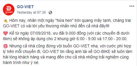 Go-Viet dừng khuyến mãi 9.000 đồng/cuốc vào giờ cao điểm, nhiều khách hàng chuyển sang Grab, tài xế phản ứng trái chiều - Ảnh 1.