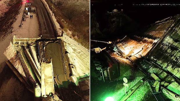 Khoảnh khắc tài xế thoát chết trong gang tấc khi cây cầu vượt trên cao đổ sập ngay trước mũi xe - Ảnh 2.