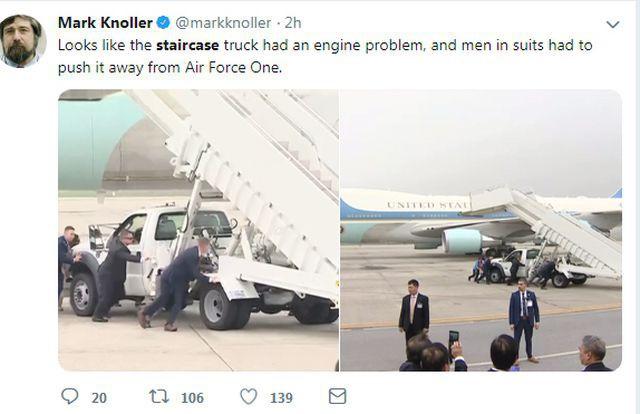 Xe thang chuyên cơ của Tổng thống Trump gặp trục trặc, đặc vụ Mỹ phải hợp sức đẩy ra trước khi chuyến bay cất cánh - Ảnh 2.