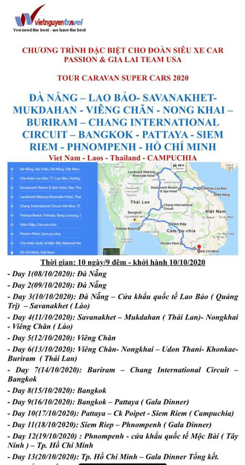 Lịch trình Car Passion 2020 cho thấy đây là hành trình siêu xe lớn nhất Việt Nam: 10 ngày rong ruổi qua 4 nước Đông Nam Á - Ảnh 1.
