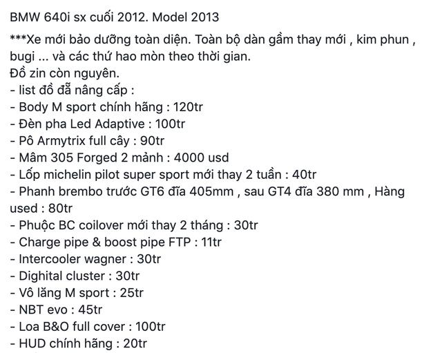 Chủ xe bán BMW 640i cũ giá 2,36 tỷ đồng, chi phí độ ngốn hơn 1,5 tỷ đồng - Ảnh 2.